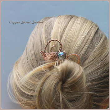 Copper Hair Stick, Leaf Hair Pin, Copper Wire Hair Pin, Bun Pin, Bun Holder, Artistic Hair Accessory Womens, Beaded, Copper Hair Clip