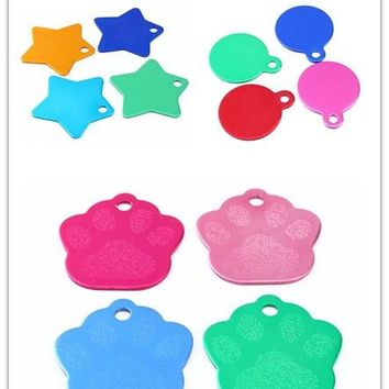 Pet ID Tag Doggie Star/Paw/Round Dog Collar License Personalized Dog Tags