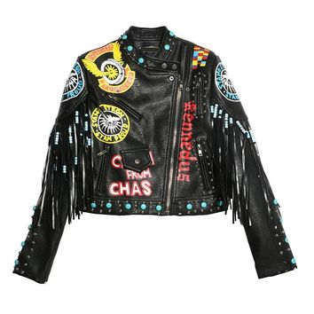 Unique Print Fringe Punk-Rock Motorcycle Short Design leather Coat