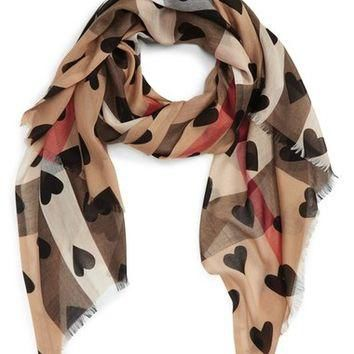 Burberry Check & Heart Pattern Scarf | Nordstrom