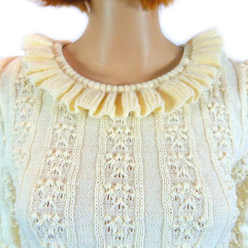 Vintage Ruffle Sweater 70s 80s Off White Thin Sweater, Long Sleeve Puff Sleeve Cable Knit Top Winter Boho Retro Sweater, The RED I