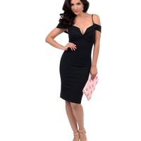 Vintage Style Black Ribbed Plunging Neckline Off Shoulder Fitted Cocktail Dress