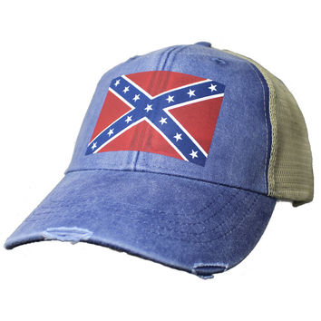 Distressed Confederate Rebel Flag Ball Cap