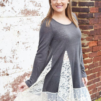 charcoal tunic top with lace trim