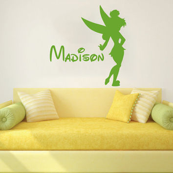 Wall Decal Vinyl Sticker Decals Art Home Decor Design Mural Tinkerbell Disney Personalized Custom Baby Name Tinker Bell Fairy Nursery AN634