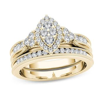 1/2 CT. T.W. Composite Marquise Diamond with Tri-Sides Bridal Engagement Ring Set in 14K Gold