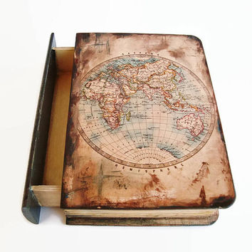 Antique Map Box Jewelry gift box Vintage Map Box Box World Old Map box Vintage Map Jewerly box Mens ewelry box Geography map box Men box