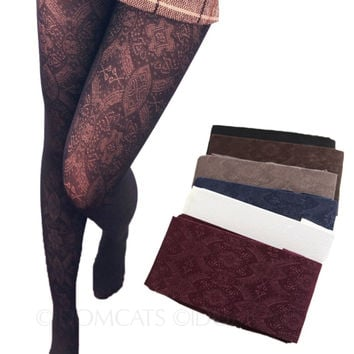 Many Colors Womens Stockings Vintage Pattern Ladies Fishnet Togjts Crochet socks Lace Pantyhose Lingerie Hosiery Free Size A859#