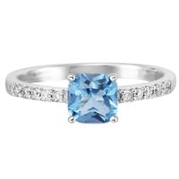 Ben Garelick 1.14 Carat Swiss Blue Topaz and 0.15 Carat Diamond 14K Gold Ring