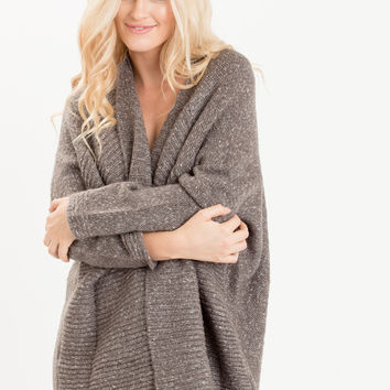 Molly Dark Grey Open Ribbed Cardigan