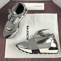 BALENCIAGA New Trending Women Men Casual Metal Color Shoes Silvery/Grey I-OMDP-GD