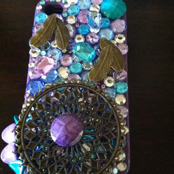 Black Friday Etsy Custom Iphone 4/4s Puple, Gold, Aqua, Feather, Bling Cell Phone Case  FREE SHIPPING