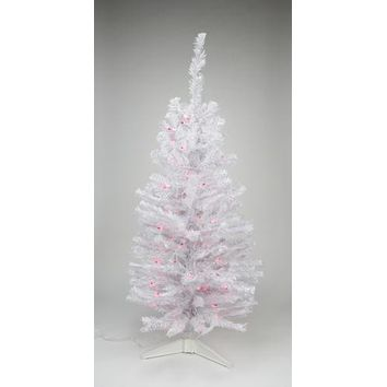 "3' x 18"" Pre-Lit Slim White Tinsel Artificial Christmas Tree - Pink Lights"