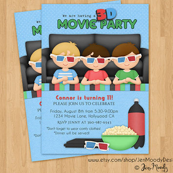 Boys 3D Movie Party, Sleepover Invitation, Slumber Party Birthday Invite - Printable, Digital, Custom, Sleeping Bag, Pizza, PJs, Pajamas