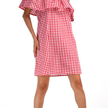 Red Checkered Off Shoulder Layered Tiered Mini Dress