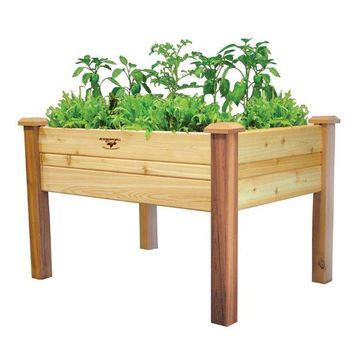Elevated 2Ft x 4 Ft Cedar Wood Raised Garden Bed Planter Box Unfinished