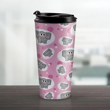 Pink Elephant Travel Mug - Adorable Gray Elephant Pattern over Pink - 15oz Stainless Steel - Made to Order