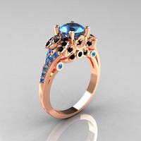 Classic 14K Rose Gold 1.0 CT Blue Topaz Black Diamond Blazer Wedding Ring R203-14KRGBDBT