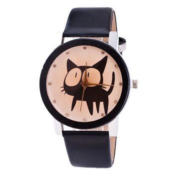 Fashion Women Girl Cat Analog Quartz Wrist Watch Geneva Leather Cartoon Watch