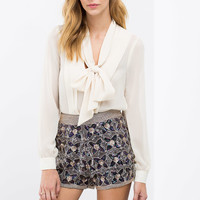 Night Out Floral Sequin Shorts