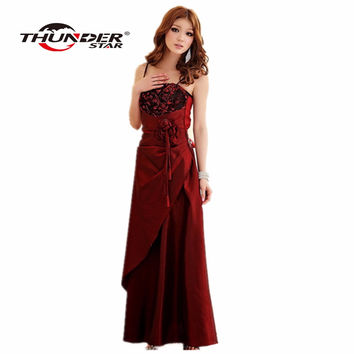 2017 Limited Robe Vestido Summer Style Plus Long Section Of The Hotel Banquet Party Dress Wedding Strap Ladies Elegant For Women