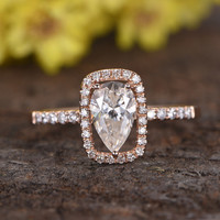 1 Carat Pear Shaped Moissanite Engagement Ring Diamond Promise 14k Rose Gold Cushion Halo Stacking Band