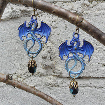 Blue dragon earrings, blue patina dragon charms, antique brass, jet black AB Czech glass beads, fantasy earrings, goth earrings; UK seller