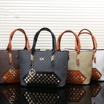 """Michael Kors"" Fashion Personality Multicolor Rivet Print Single Shoulder Messenger Bag MK Women Handbag Set Two-Piece"