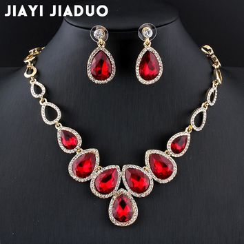 jiayijiaduo Hot african Jewelry set  Gold-color cystal necklace set and earrings set for women Red crystal wedding jewelry set