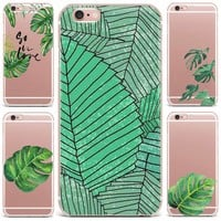 Case For Apple iPhone 7 8 Plus 7 6 S 8 6 8 Plus X 4 5S Mobile Phone Shell Flowers Patterned Series Hard PC Cute Tropical Plants