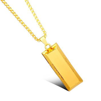 dongsheng Personalized Supremes Pendant Necklace Hip Hop Bar Brick Franco Jewelry Neck