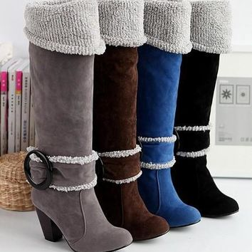 Fashion Online Fashion Snow Boots Big Size 4-12 Square High Heels Knee High Winter Shoes For Women Sexy Warm Fur Buckle Fashion Boots On Sale - 1932422084