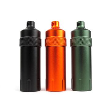 Outdoor Camping Survival Waterproof Tank Aluminum Seal Bottle Emergency First Aid Capsule Pill Container Keychain EDC Gear Tool