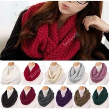 Unisex Women Winter Warm Infinity 2 Circle Cable Knit Cowl Neck Scarf Shawl [8321371591]