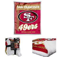 "Licensed Official NFL San Francisco 49ers Premium Soft Mink Sherpa Throw Blanket Large 50"" X 60"""