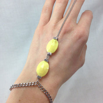On Sale- Lemon Boho Ring to Wrist Bracelet
