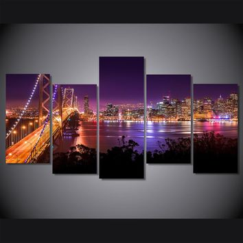 5 Pieces Panel Picture San Francisco Night Sunset  Bridge Canvas Wall Art