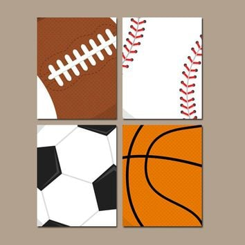 SPORTS Wall Art, Sports Balls, Baby Boy Nursery Decor, Big Boy Bedroom, Canvas or Prints, Soccer Football Baseball Basketball Set of 4