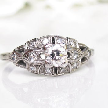 Platinum Antique Engagement Ring Old European Cut Diamond 1930s Art Deco Engagement Ring 0.41ctw Diamond Antique Wedding Ring Size 6.5