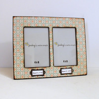 4x6 Double Photo Frame Orange Aqua Quilt