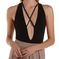 Black Strappy Plunging Bodysuit by Charlotte Russe