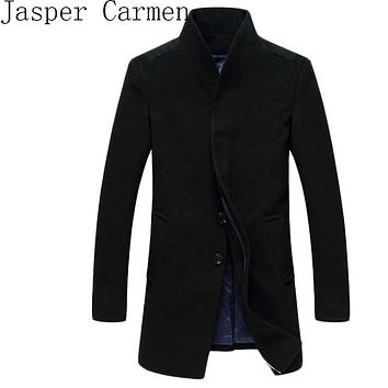 Free shipping Fashion Casual Winter Men Woolen Jackets Turn Collar Long Slim Coats Warm Overcoat Wool Blends Clothing 140hfx