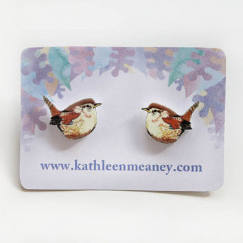 Wren bird stud earrings