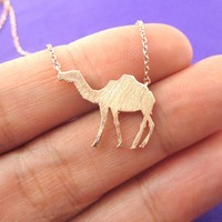 Camel Silhouette Shaped Pendant Necklace in Rose Gold | Animal Jewelry