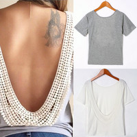 Short Sleeve O-neck Backless T-shirt
