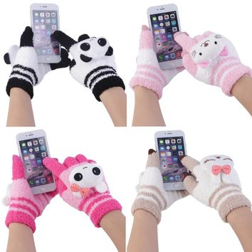 4 Color woman's gloves girls fashion in winter Warm Mittens Cute Animal  Cartoon cotton Knitting Fingers gloves