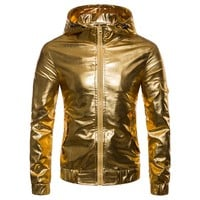 jacket men 2018 Men's Clothing Personality gold and silver hooded jacket night club youth hip-hop casual clothes singer costumes