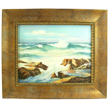 Original Lilly Watson Oil Painting - Ocean Surf Inlet - Signed Framed Fine Art
