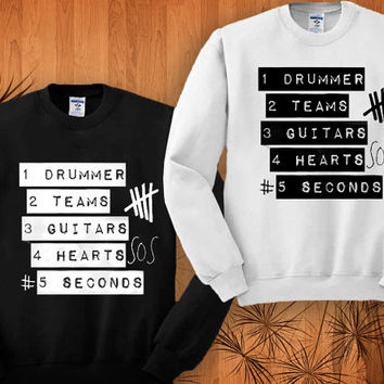 5 Seconds Of Summer sweatshirt black and white size S - 3XL
