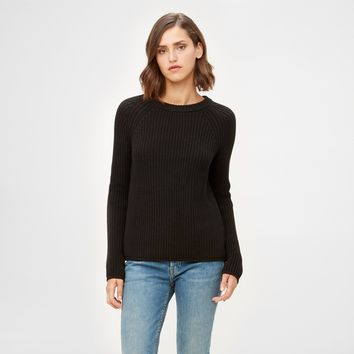 Cotton Fisherman Sweater - Black